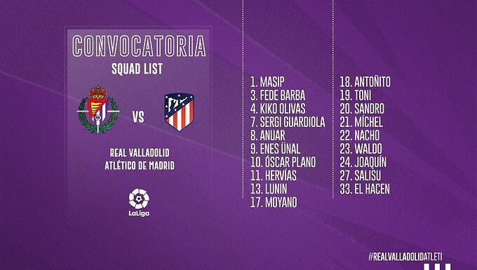 Convocatoria Real Valladolid: Jornada 8